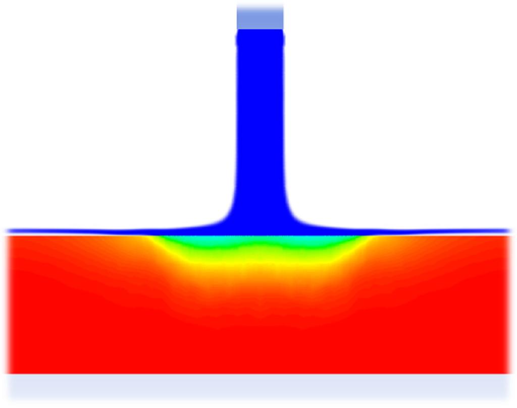 Simulationsbild eines von oben auf eine Platte auftreffenden Flüssigkeitsstrahls mit eingezeichneter Temperaturverteilung bei Kühlung der Platte